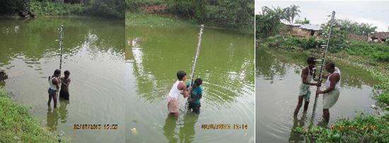Installing water level staffing gauges in Madhubani